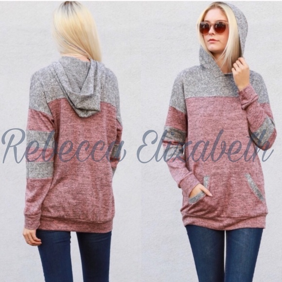 Color block pink & gray contrast pull on Hoodie